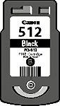 Cartridge Canon 512 (PG-512) pro inkoustové tiskárny Canon. Barva:černá.